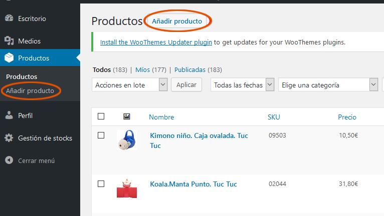 Añadir productos
